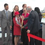 From left to right Fred Dixon, Catherine McVay Hughes, Margaret Chin, Murray Fisher, Gale Brewer, Debi Rose, Zac Smith and Terry MacRae cut the ribbon for the revitalization of Pier 15 at Hornblower Cruises & Events Pier 15 Launch Party at South Street Seaport, on Tuesday, May 6, 2014 in New York. — at Pier 15.
